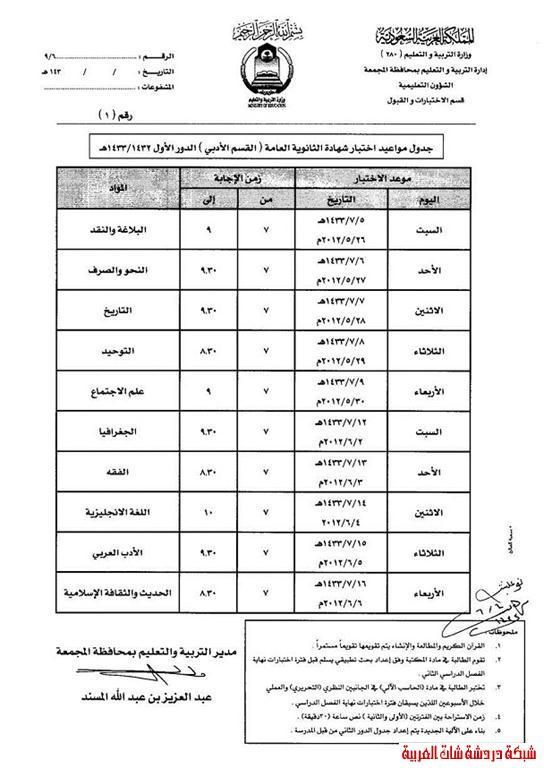 جدول اختبارات شهادة الثانوية العامة الفصل الثاني  الدور الاول 1433هـ 13358628031.jpg