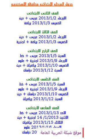 جدول امتحانات المرحلة الابتدائية الفصل الاول في محافظه اسكندريه 2013 13555996801.png