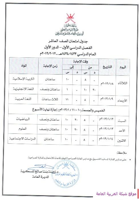 جدول امتحان الصف العاشر بسلطنة عمان – الفصل الدراسي الاول 1434 هـ – 2013 م 13567237091.png