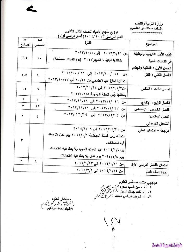 توزيع منهج الاحياء للصف الثانى الثانوى المنهج الجديد 2014 المنهاج المصري 1379776757381.jpg