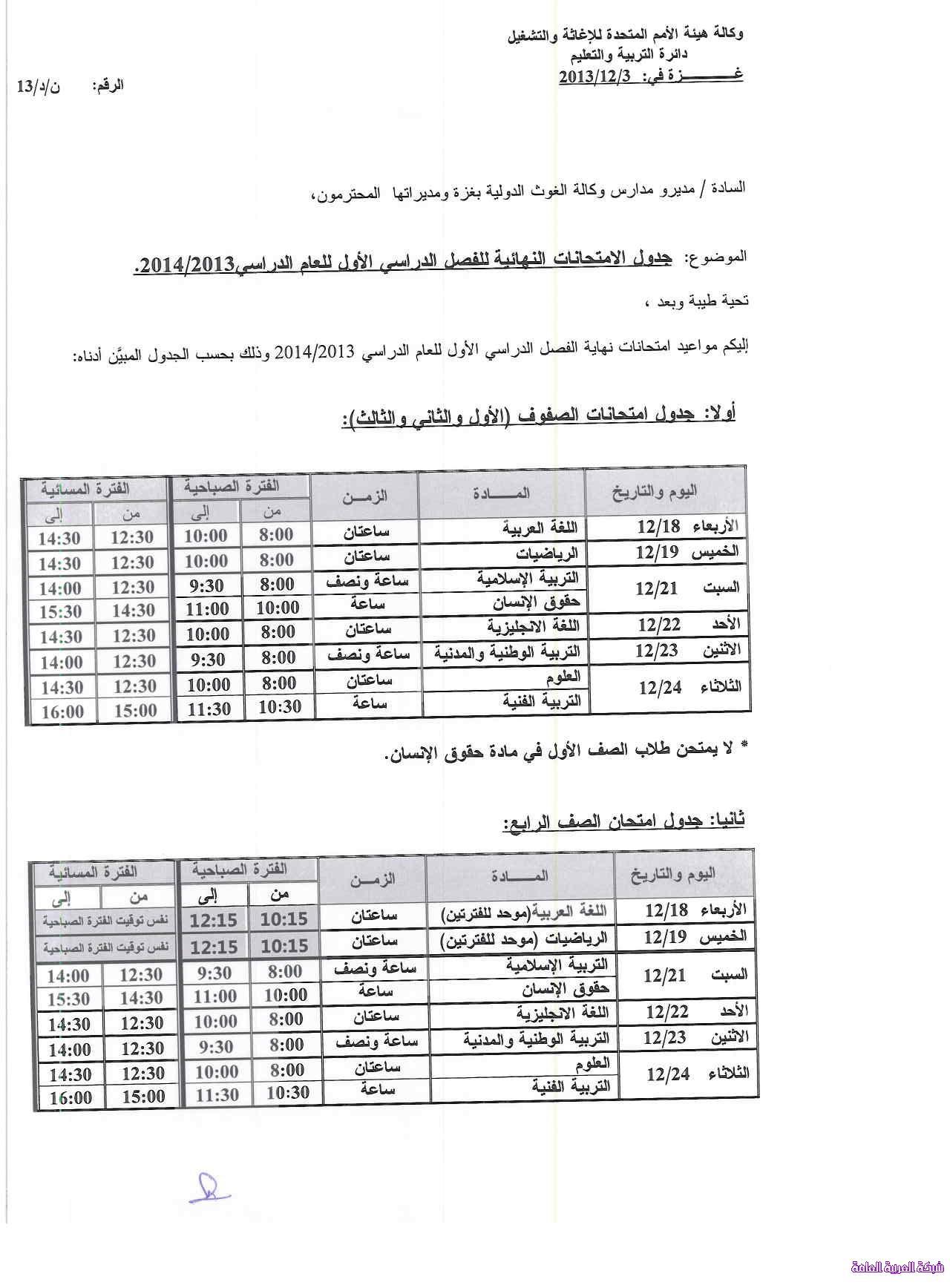 جدول امتحان نهاية الفصل الاول وكالة الغوث 1386079299731.jpg