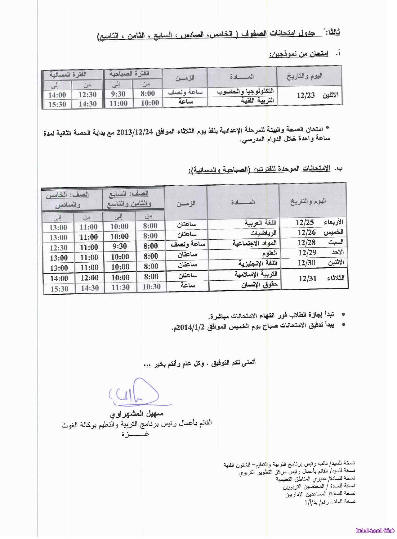 جدول امتحان نهاية الفصل الاول وكالة الغوث 1386079390122.png