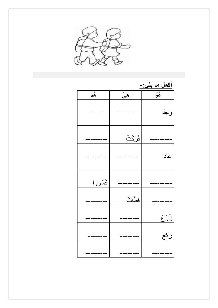 ورقة عمل في اللغة العربية تصريف الافعال مع الضمائر للصف الاول 1392384408241.png