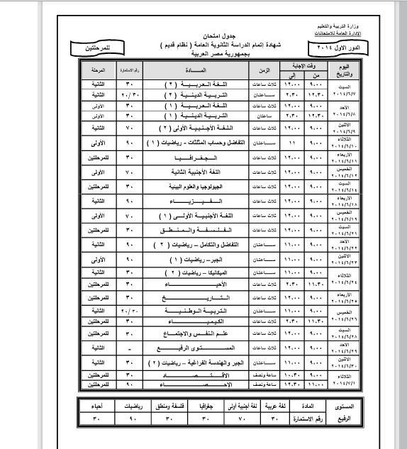جدول امتحانات الثانوية العامة 2014 بعد اعتماده من وزير التربية والتعليم 1396703960621.jpg