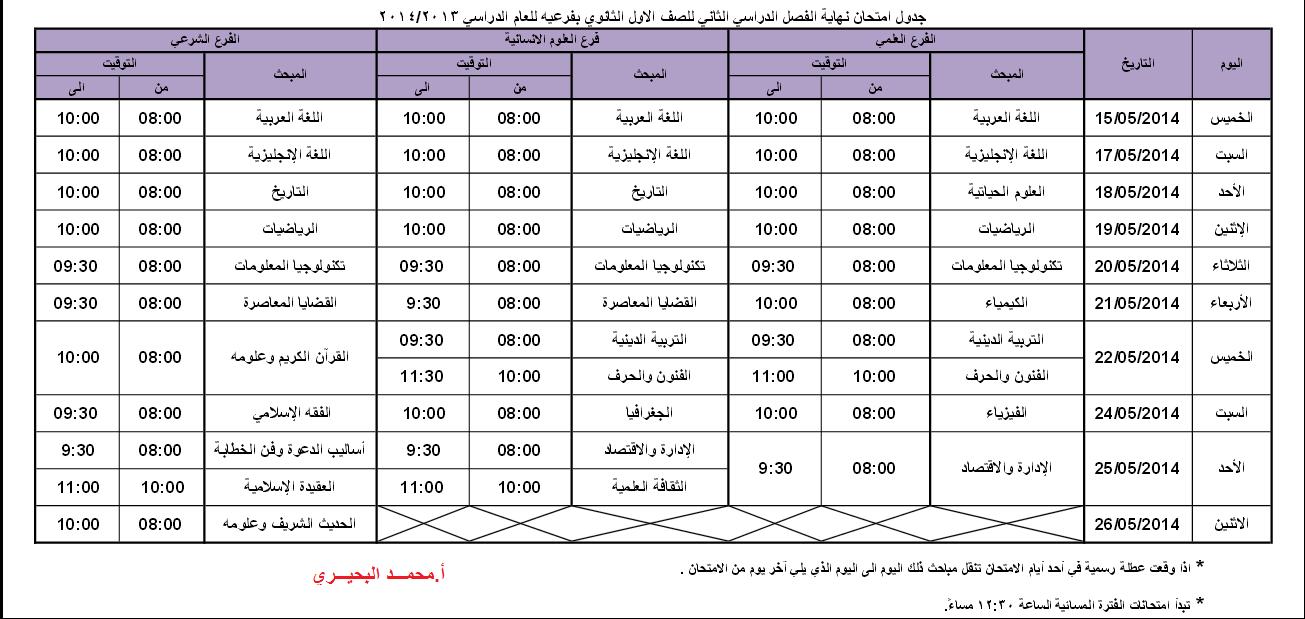 جدول امتحانات نهاية الفصل الدراسي الثاني لجميع المراحل 1396784464851.png