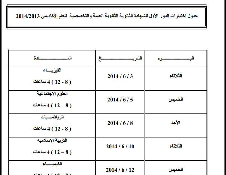 جدول اختبارات الدور الاول للشهادة الثانوية العامة للعام الدراسي 2013-2014 1399417087981.jpg