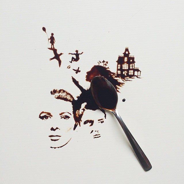 أجمل اللوحات بالقهوة والعسل والشوكولاتة 1436086856921.jpg