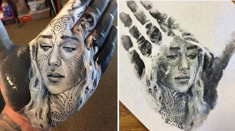 """فنان أمريكي يرسم لوحات مذهلة على راحة يده ثم """"يختمها"""" على الورق 1436089494071.jpg"""