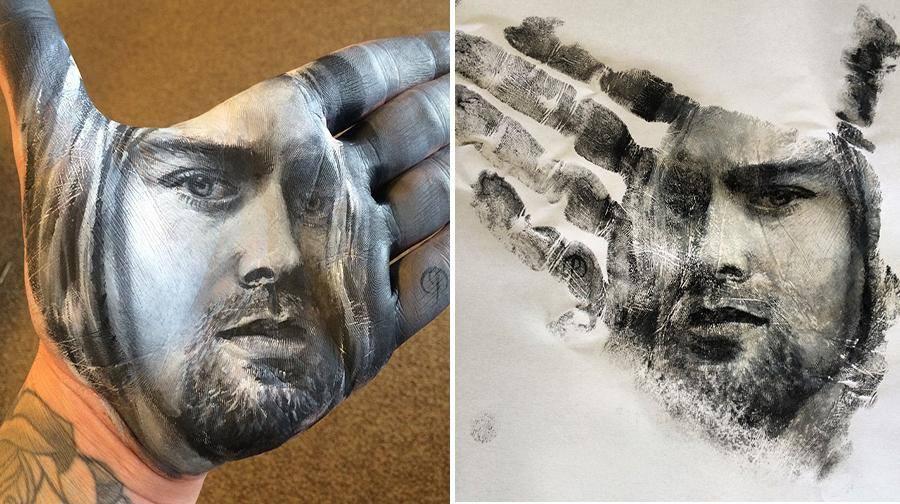 """فنان أمريكي يرسم لوحات مذهلة على راحة يده ثم """"يختمها"""" على الورق 1436089494162.jpg"""