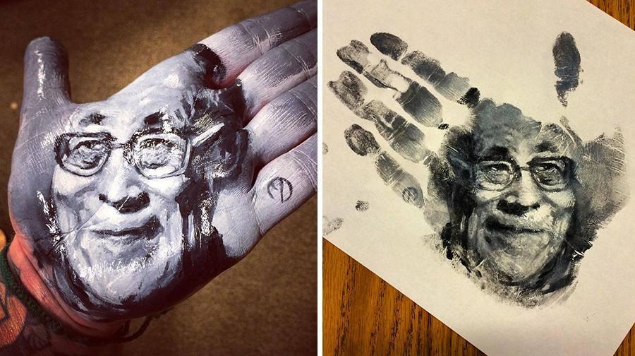 """فنان أمريكي يرسم لوحات مذهلة على راحة يده ثم """"يختمها"""" على الورق 1436089494213.jpg"""