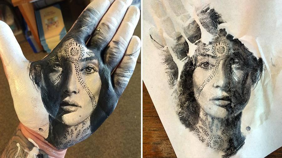 """فنان أمريكي يرسم لوحات مذهلة على راحة يده ثم """"يختمها"""" على الورق 1436089709311.jpg"""