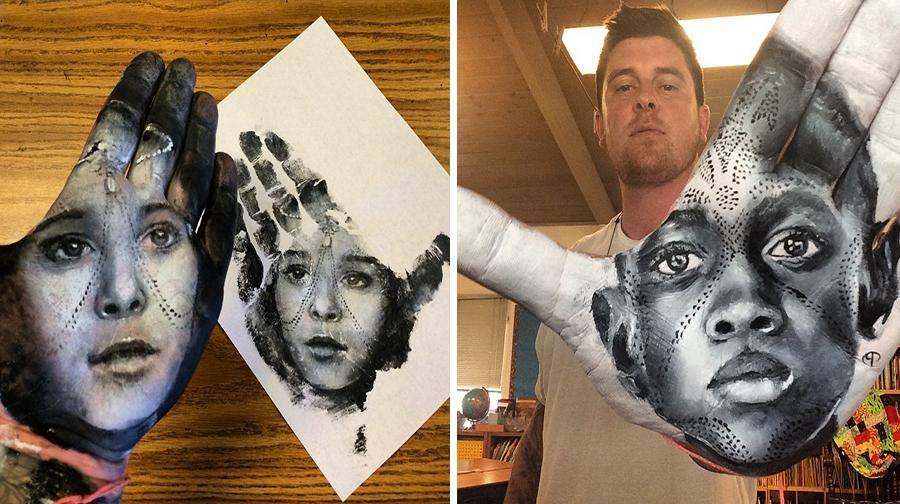 """فنان أمريكي يرسم لوحات مذهلة على راحة يده ثم """"يختمها"""" على الورق 1436089709352.jpg"""