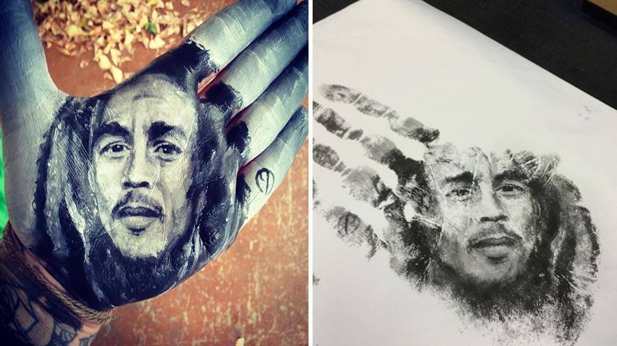 """فنان أمريكي يرسم لوحات مذهلة على راحة يده ثم """"يختمها"""" على الورق 1436089709383.jpg"""