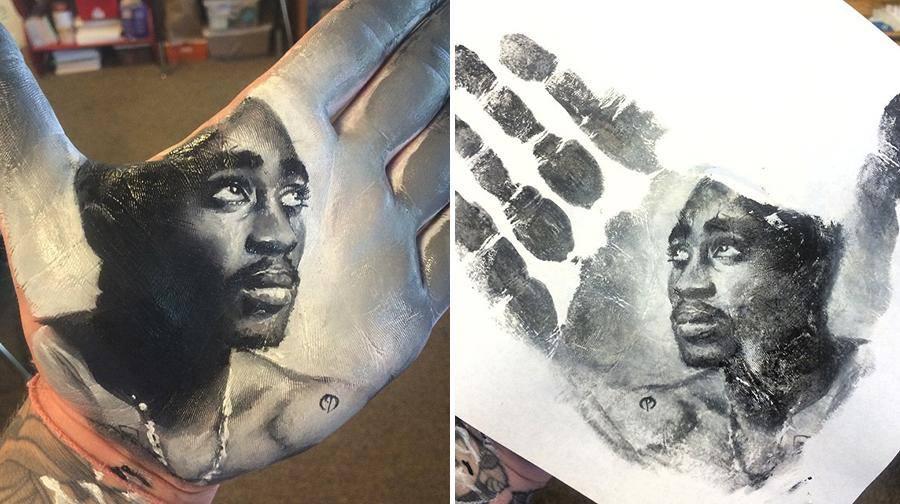 """فنان أمريكي يرسم لوحات مذهلة على راحة يده ثم """"يختمها"""" على الورق 1436089884162.jpg"""