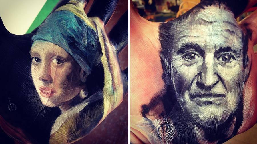"""فنان أمريكي يرسم لوحات مذهلة على راحة يده ثم """"يختمها"""" على الورق 1436089884223.jpg"""