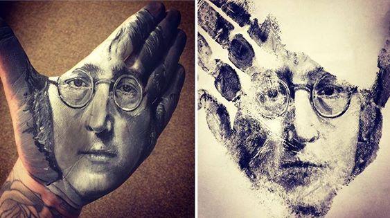"""فنان أمريكي يرسم لوحات مذهلة على راحة يده ثم """"يختمها"""" على الورق 1436090093791.jpg"""
