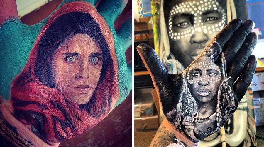 """فنان أمريكي يرسم لوحات مذهلة على راحة يده ثم """"يختمها"""" على الورق 1436090093842.jpg"""