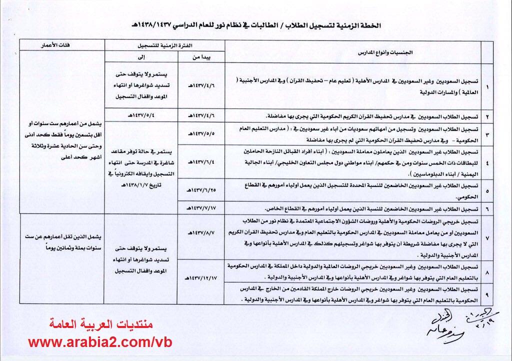 الخطة الزمنية لتسجيل الطلاب و الطالبات في نظام نور للعام الدراسي القادم 1437 / 1438 هـ 1452685703891.jpg