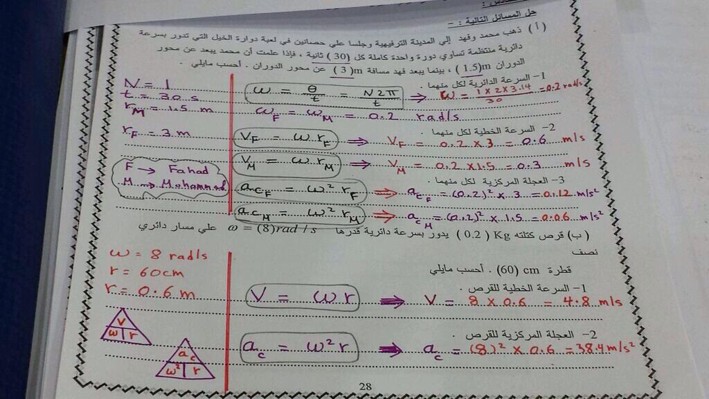 مسائل محلولة فيزياء 11 متوقعة عن الحركة الدائرية منهاج الكويت 1461933005481.jpg