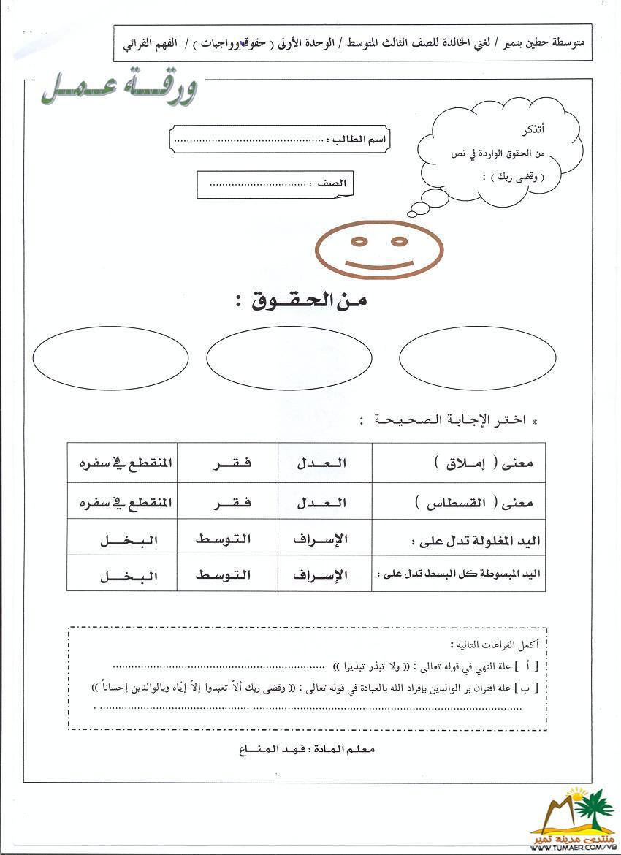 أوراق عمـل للوحدة الأولى لمـادة لغتي الخـالـدة للصف الـثـالـث المتوسط 1462483775741.jpg