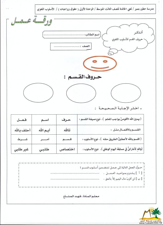 أوراق عمـل للوحدة الأولى لمـادة لغتي الخـالـدة للصف الـثـالـث المتوسط 1462483775893.jpg