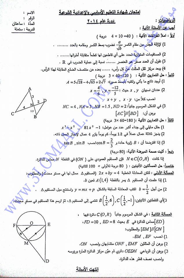 اسئلة امتحان مادة الرياضيات للصف التاسع دورة عام 2013 سوريا ورقة الإمتحان 146254201563.jpg