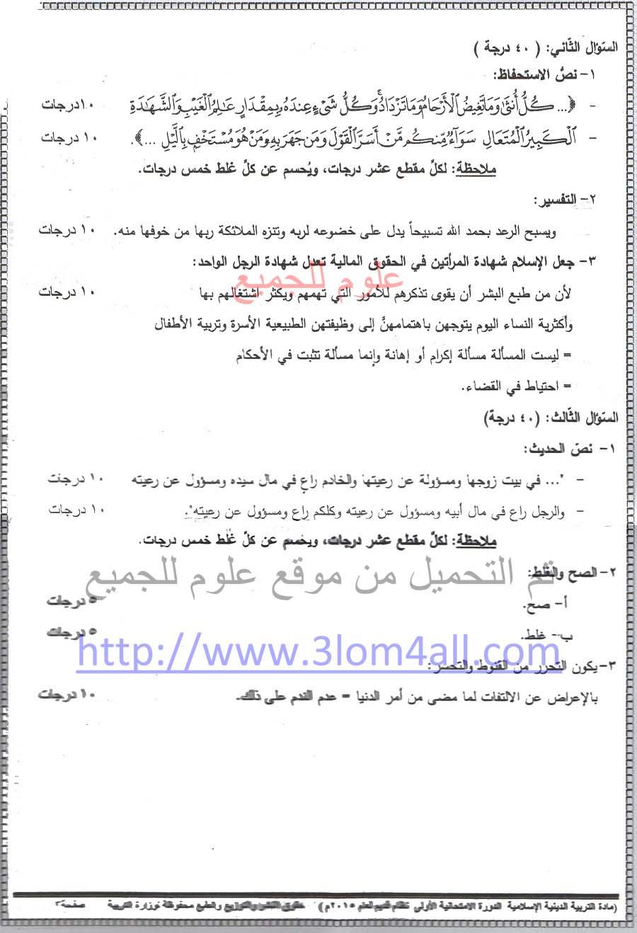 اسئلة امتحان مادة التربية الإسلامية  الديانة بكالوريا سوريا الفرع العلمي والأدبي 1463474771361.jpeg