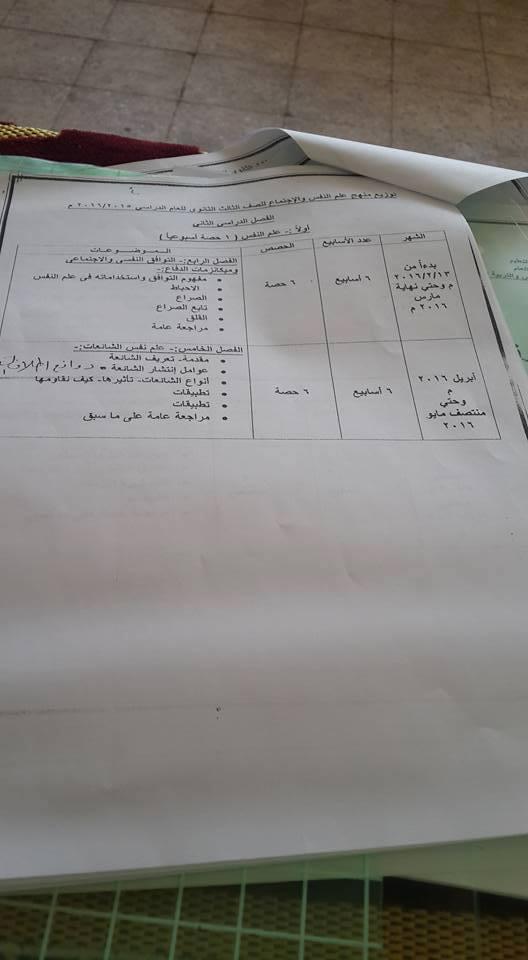 توزيع منهج علم نفس و اجتماع ثانوية عامة 2014 المنهاج المصري 1464122149473.jpg