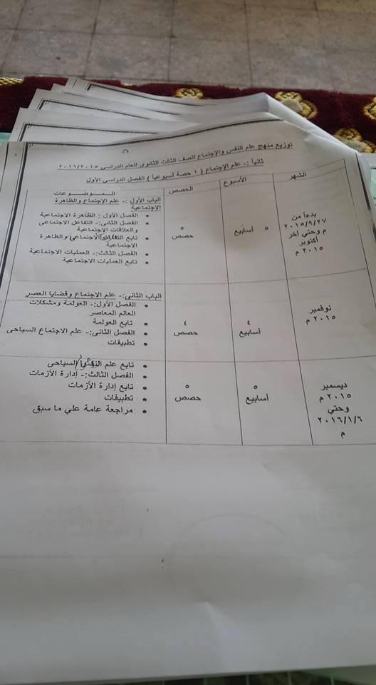 توزيع منهج علم نفس و اجتماع ثانوية عامة 2014 المنهاج المصري 1464122149524.jpg