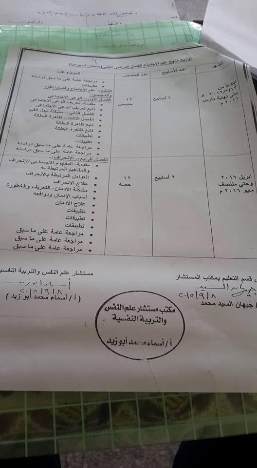 توزيع منهج علم نفس و اجتماع ثانوية عامة 2014 المنهاج المصري 1464122149545.jpg