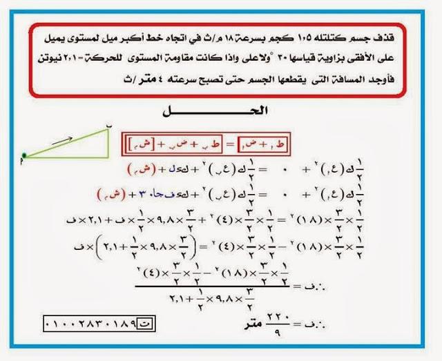 أهم مسائل الاستاتيكا والديناميكا الثالث الثانوي 2014 المنهاج المصري 1464206737184.jpg
