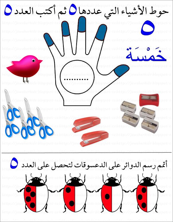 أوراق عمل الرقم خمسة  - رياض اطفال 1469992455961.png