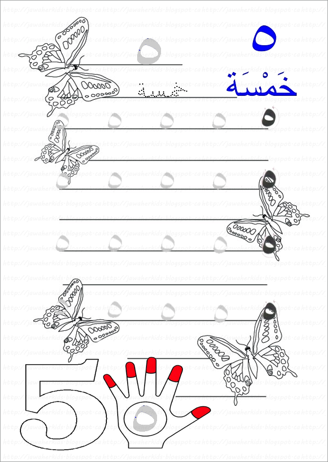 أوراق عمل الرقم خمسة  - رياض اطفال 1469992456194.png