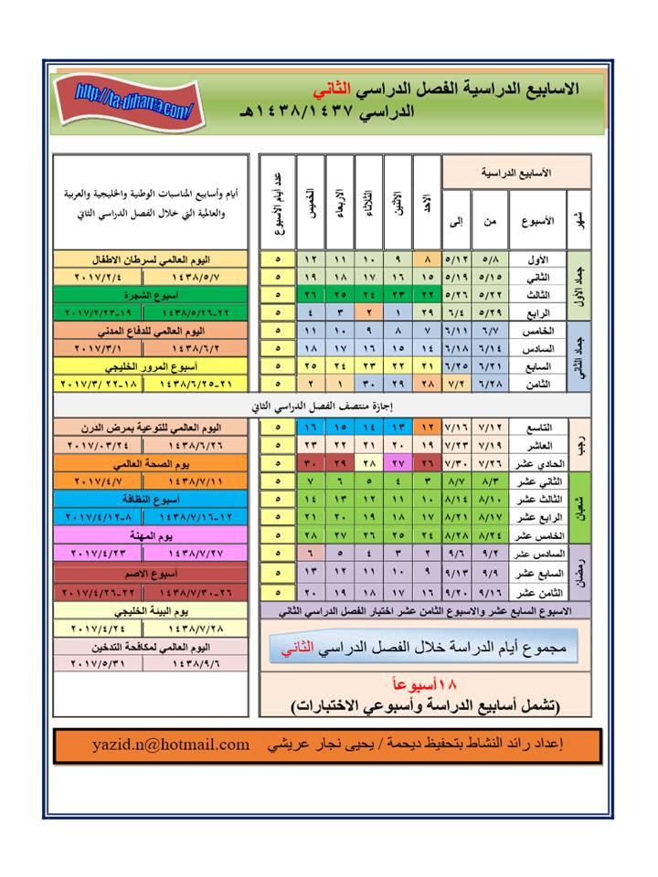 التقويم الدراسي 1437-1438 مع بعض المناسبات الوطنية والخليجية والعربية والعالمية 1474491106744.jpg