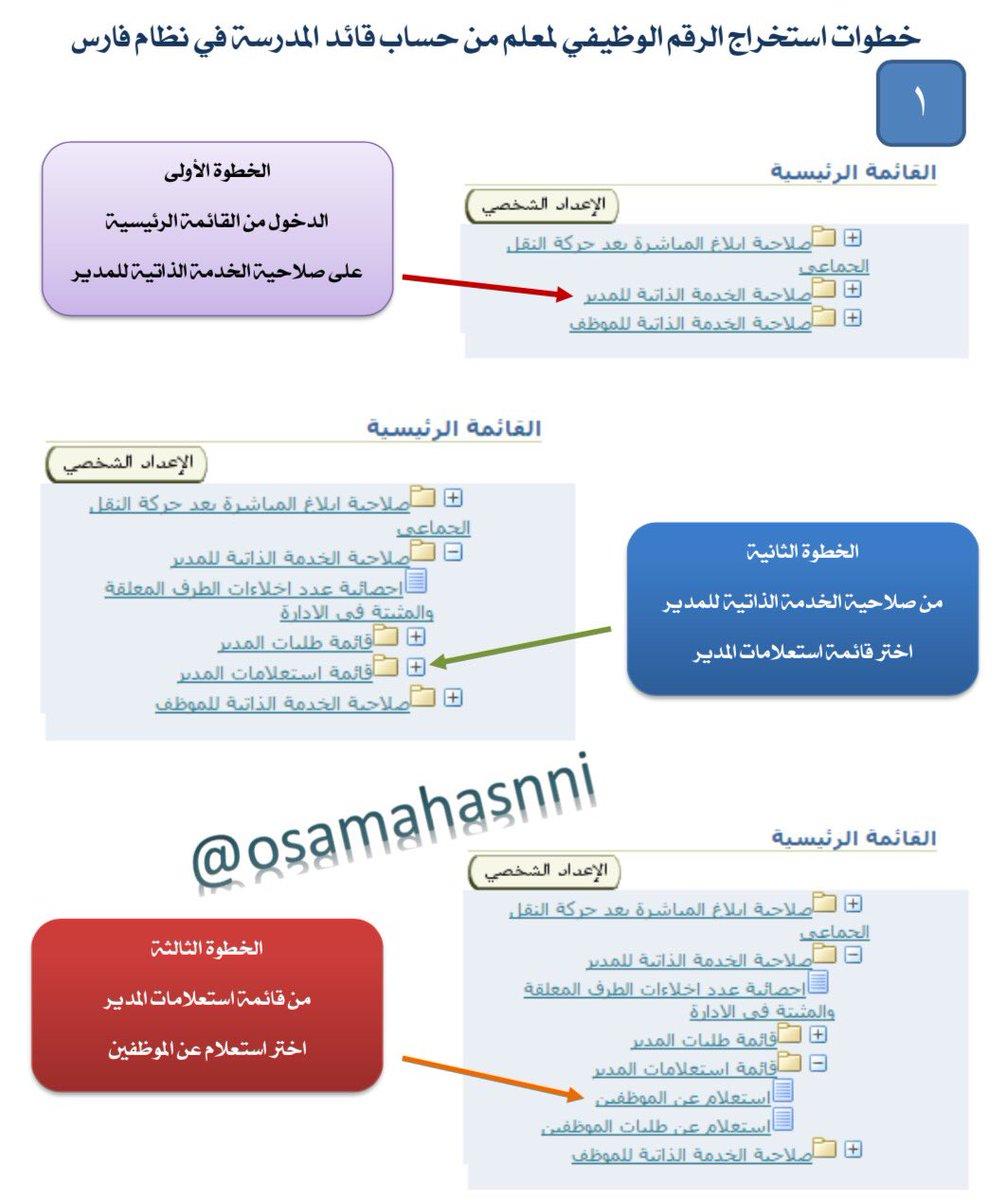 خطوات استخراج الرقم الوظيفي للمعلم من حساب قائد المدرسة في نظام فارس 1478812188811.jpg